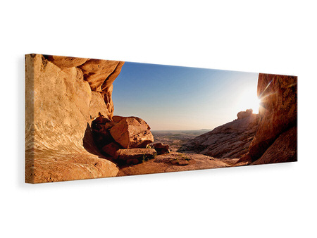 Panoramic Canvas Print Sunset In Front Of The cave