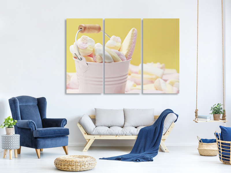 3 Piece Canvas Print Marshmallow in the bucket