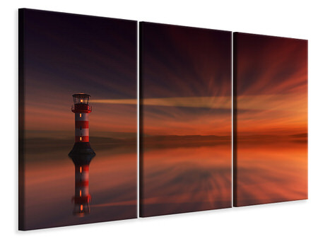 3 Piece Canvas Print Red sky at the lighthouse
