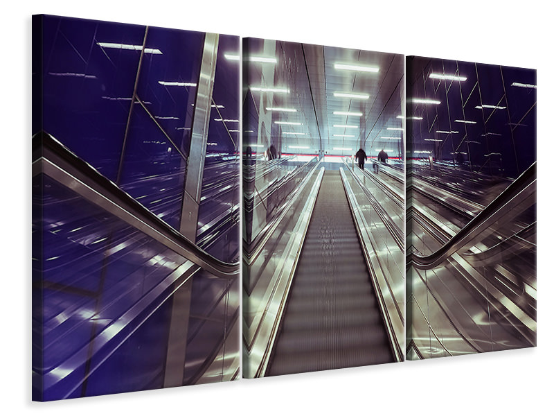 3 Piece Canvas Print Modern escalators