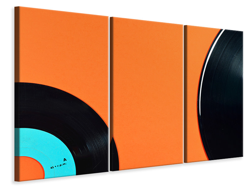 3 Piece Canvas Print Retro vinyl record motif