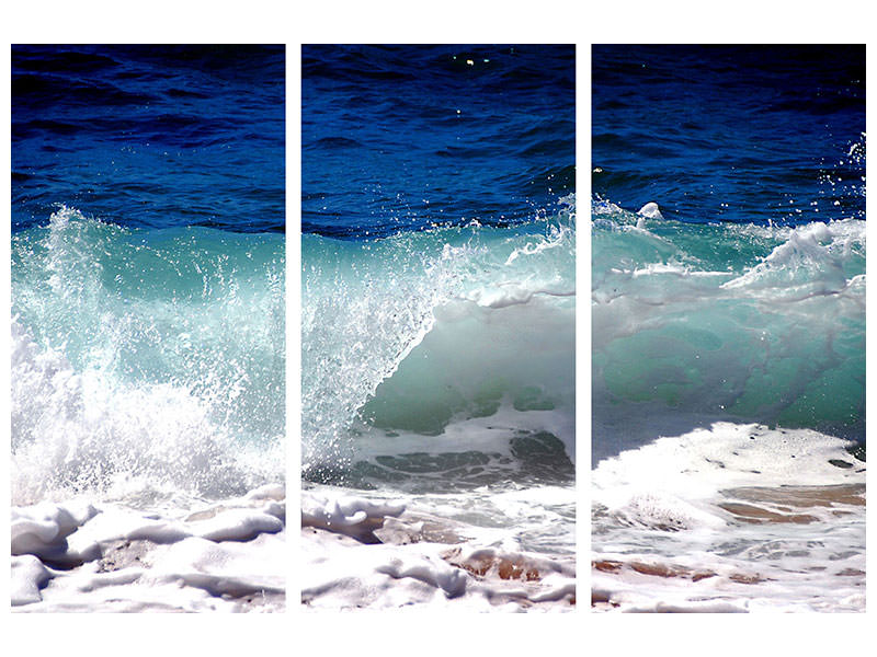 3 Piece Canvas Print Powerful surf