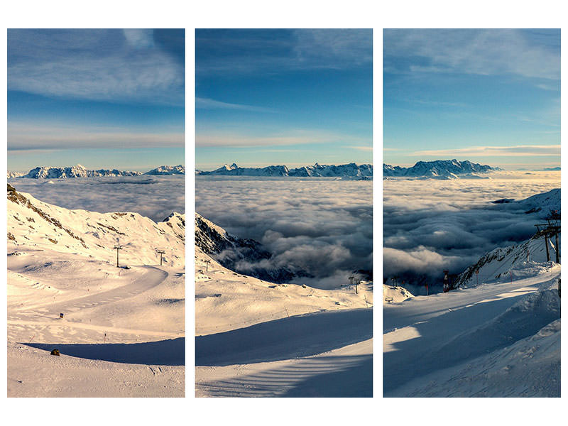 3 Piece Canvas Print Above the clouds in the snow
