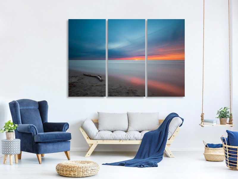 3 Piece Canvas Print Beach in the sunset