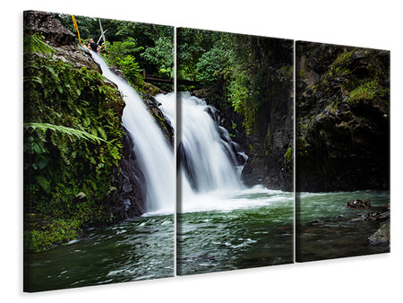 3 Piece Canvas Print Waterfall in the evening light