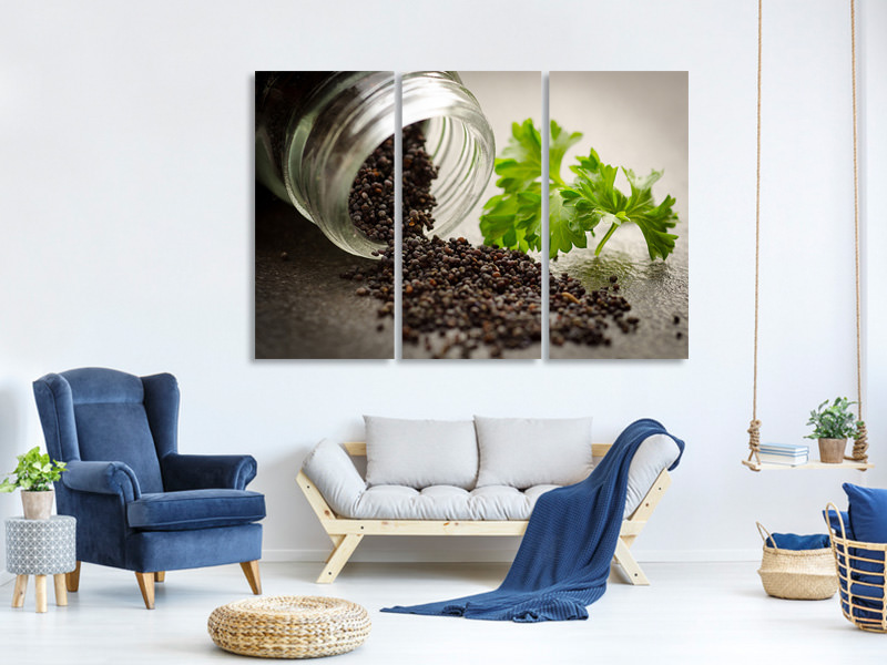 3 Piece Canvas Print poppy seed