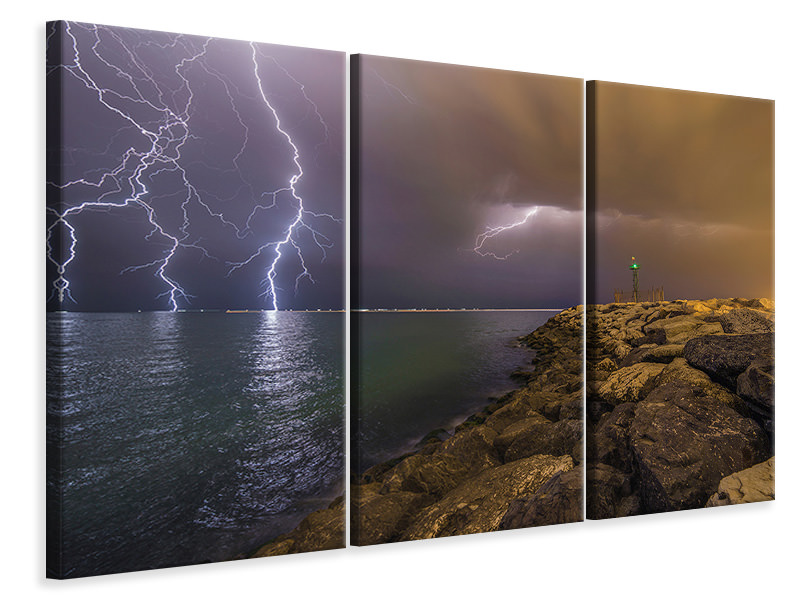 3 Piece Canvas Print When Lightning Strikes