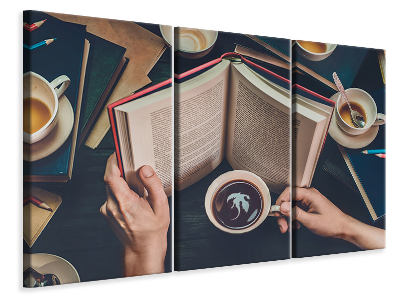 3 Piece Canvas Print Coffee For Dreamers