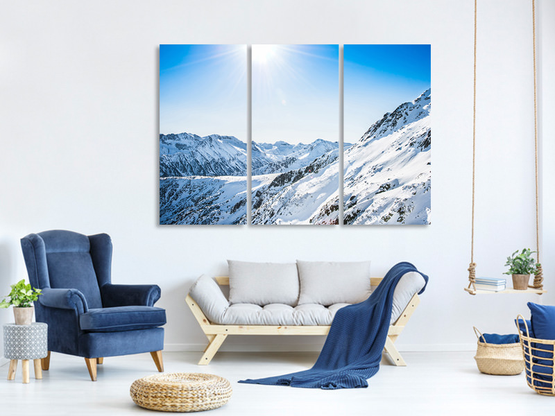 3 Piece Canvas Print Mountain Panorama In Snow