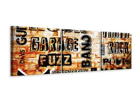 Panoramic 3 Piece Canvas Print Rock In Grunge Style