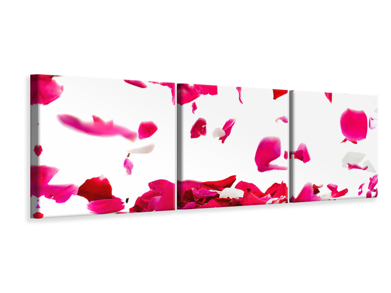 Panoramic 3 Piece Canvas Print Let It Rain Red Roses For Me