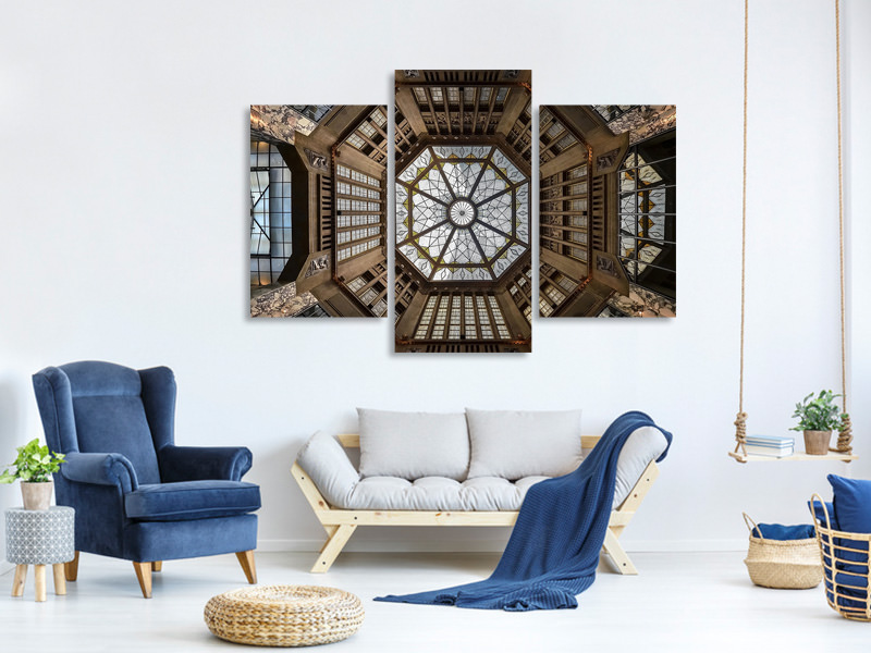 Modern 3 Piece Canvas Print Looking Up II