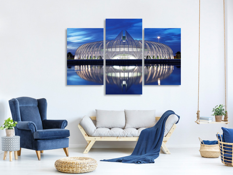 Modern 3 Piece Canvas Print Polytechnic University Of Florida At Night