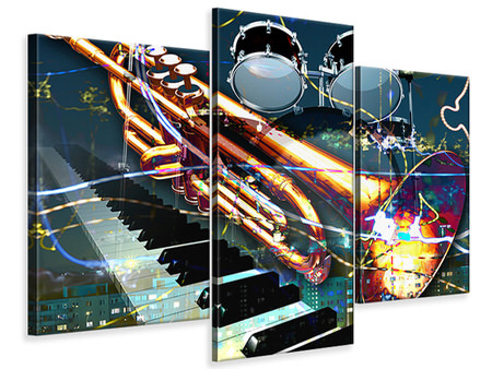 Modern 3 Piece Canvas Print Let The Music Play