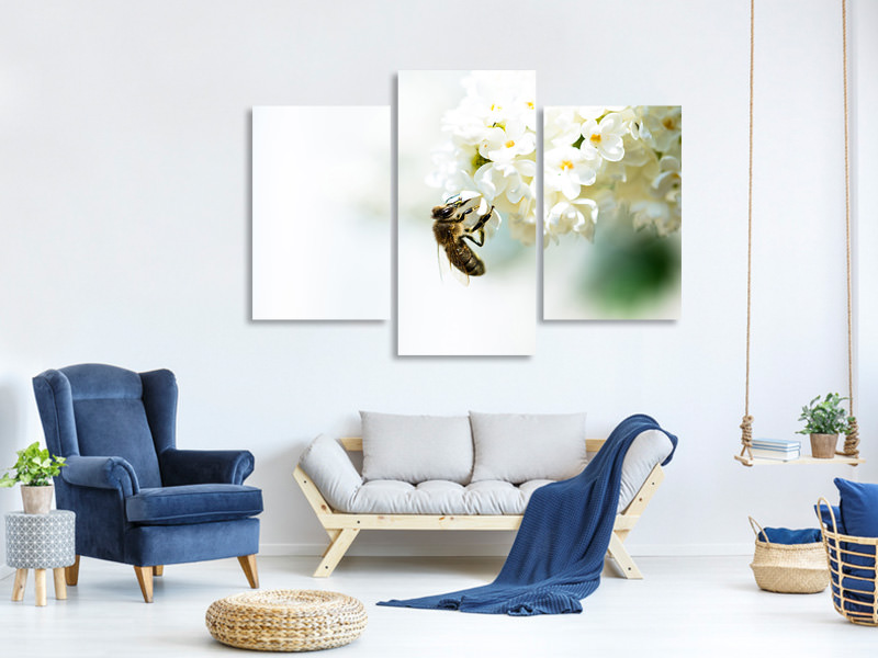 Modern 3 Piece Canvas Print The Bumblebee And The Flower