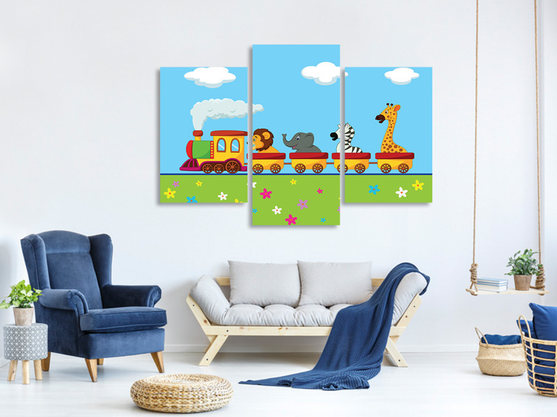 Modern 3 Piece Canvas Print Animal Train