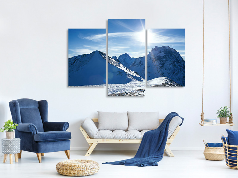 Modern 3 Piece Canvas Print The Mountain In Snow