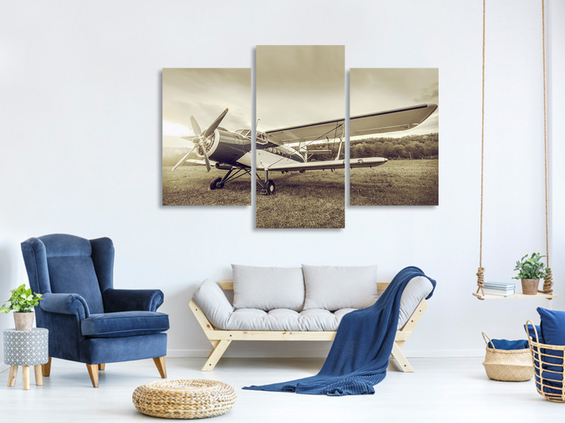 Modern 3 Piece Canvas Print Nostalgic Aircraft In Retro Style