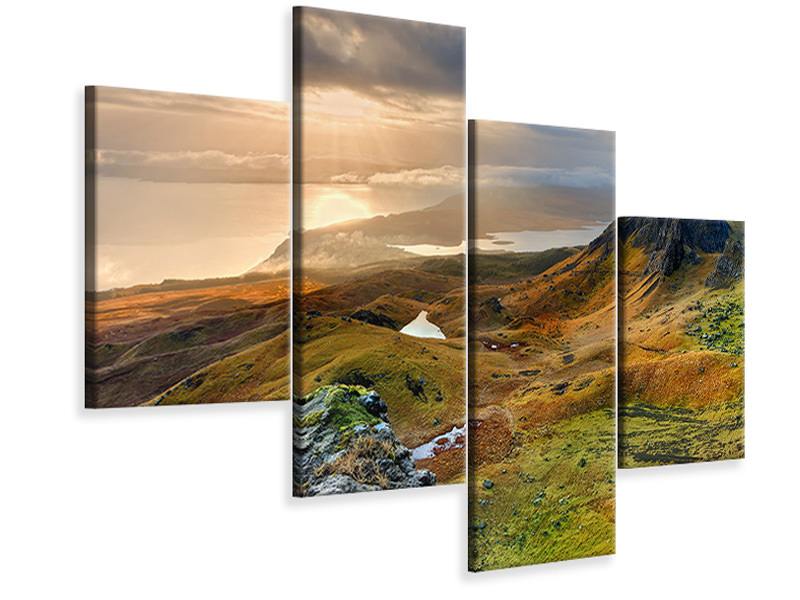 Modern 4 Piece Canvas Print Idyllic mountain landscape