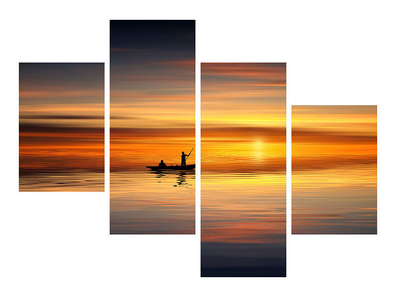 Modern 4 Piece Canvas Print Romantic sunset on the sea