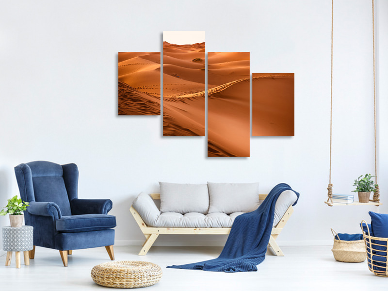 Modern 4 Piece Canvas Print Traces in the desert
