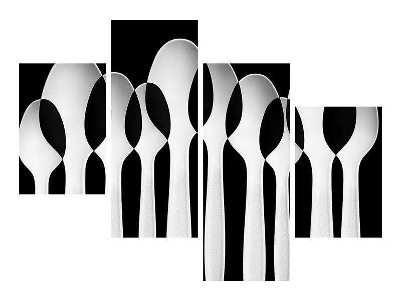 Stampa su tela 4 pezzi moderno Spoons Abstract: Forest