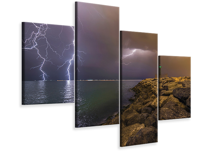 Stampa su tela 4 pezzi moderno When Lightning Strikes