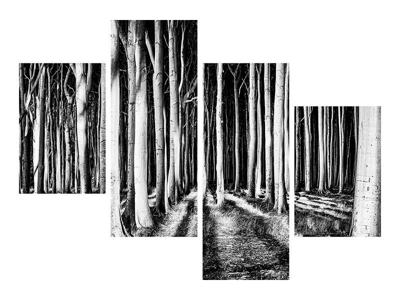 Modern 4 Piece Canvas Print Ghost Forest