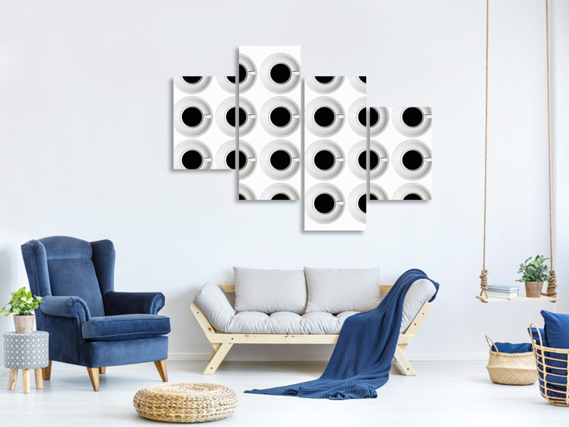 Modern 4 Piece Canvas Print Cups