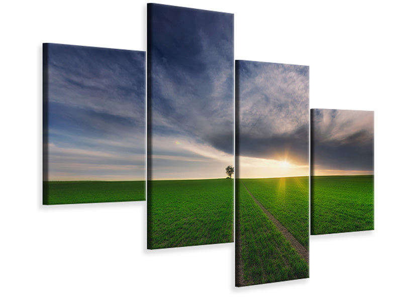 Modern 4 Piece Canvas Print Loner In The Sun