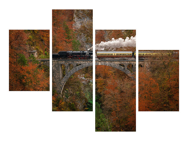 Modern 4 Piece Canvas Print Museum Train