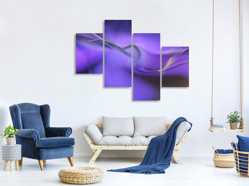 Stampa su tela 4 pezzi moderno Shapes Of Purple
