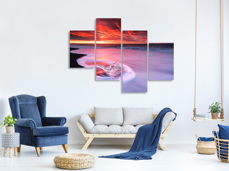 Modern 4 Piece Canvas Print Ice And Fire