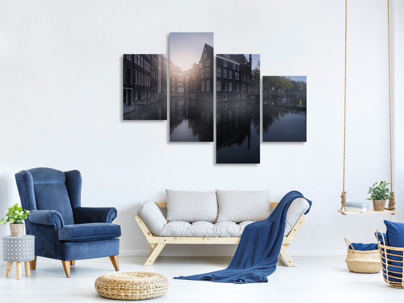 Modern 4 Piece Canvas Print Amsterdam Morning I