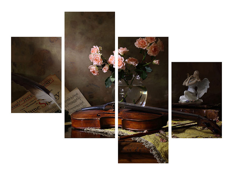 Stampa su tela 4 pezzi moderno Still Life With Violin And Roses