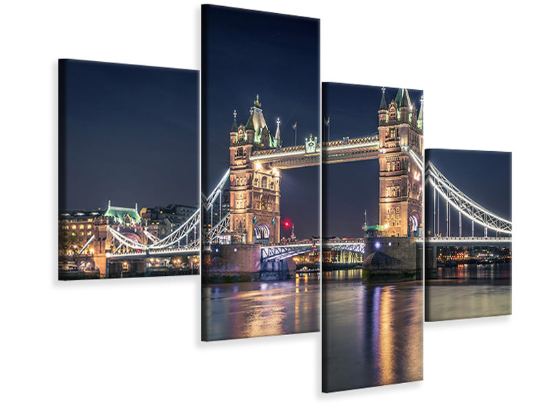 Tableau sur Toile en 4 parties moderne Night At The Tower Bridge