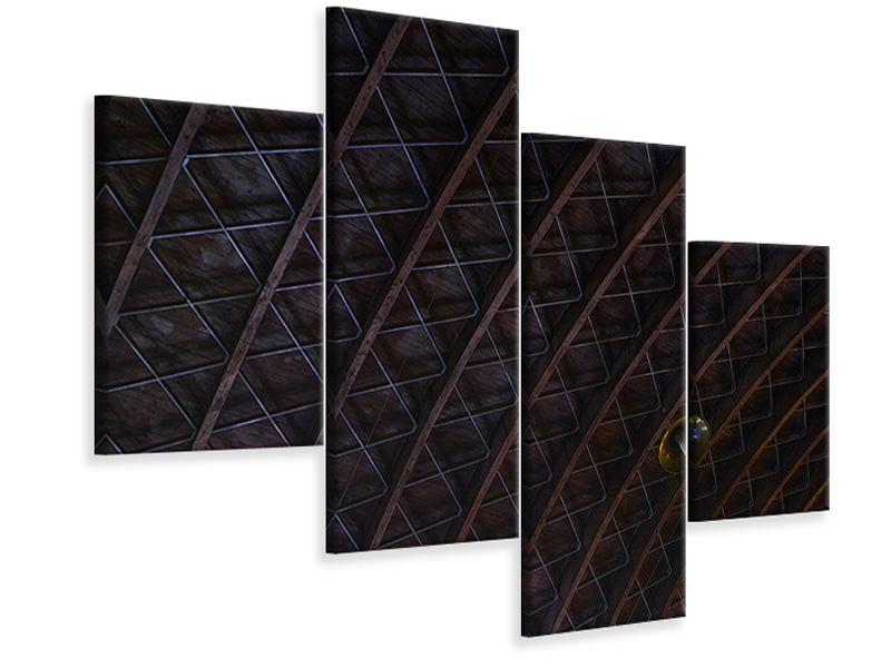 Modern 4 Piece Canvas Print Roofing