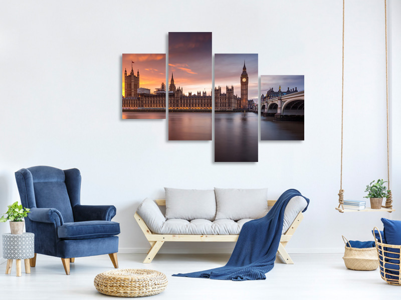 Modern 4 Piece Canvas Print London Palace Of Westminster Sunset