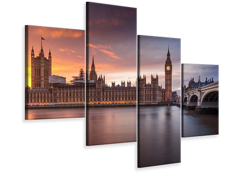 Stampa su tela 4 pezzi moderno London Palace Of Westminster Sunset