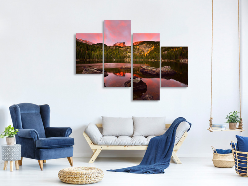 Modern 4 Piece Canvas Print Bear Lake Sunrise