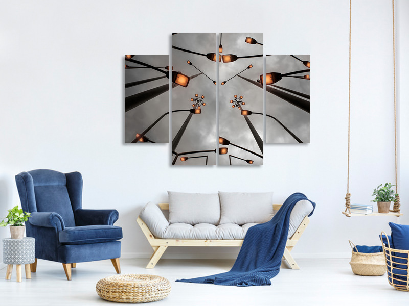 4 Piece Canvas Print Lights