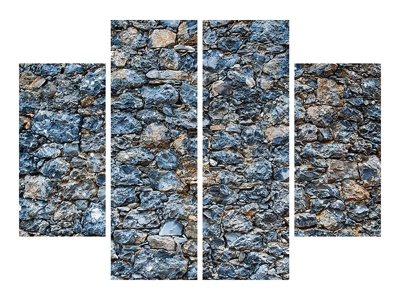 4 Piece Canvas Print Old Stone Wall 3