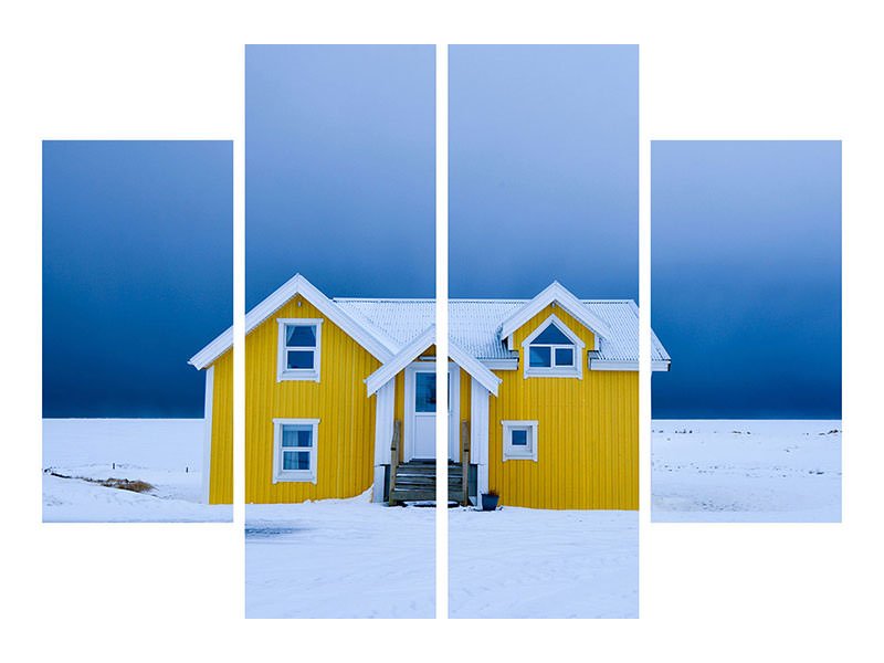 4 Piece Canvas Print The Yellow House