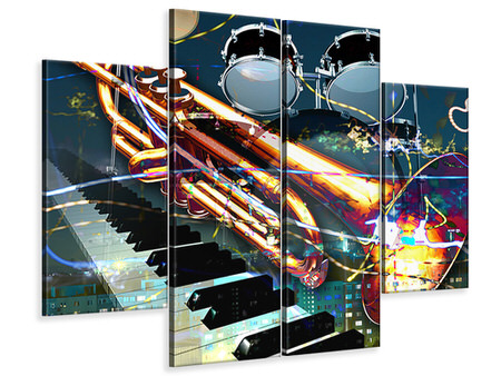 4 Piece Canvas Print Let The Music Play