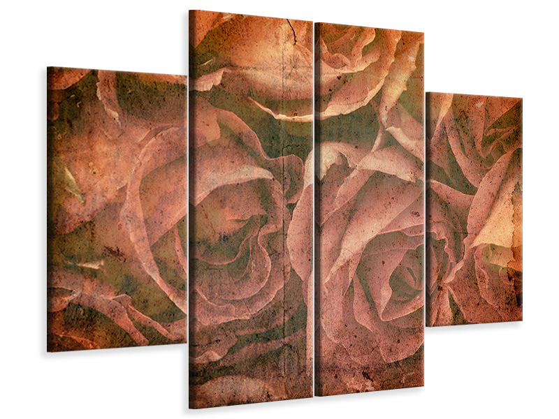 4 Piece Canvas Print Rose Bouquet