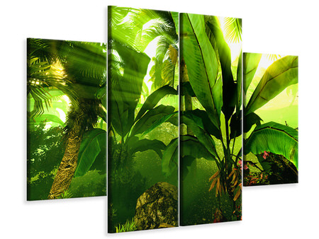4 Piece Canvas Print Sunrise In The Rainforest