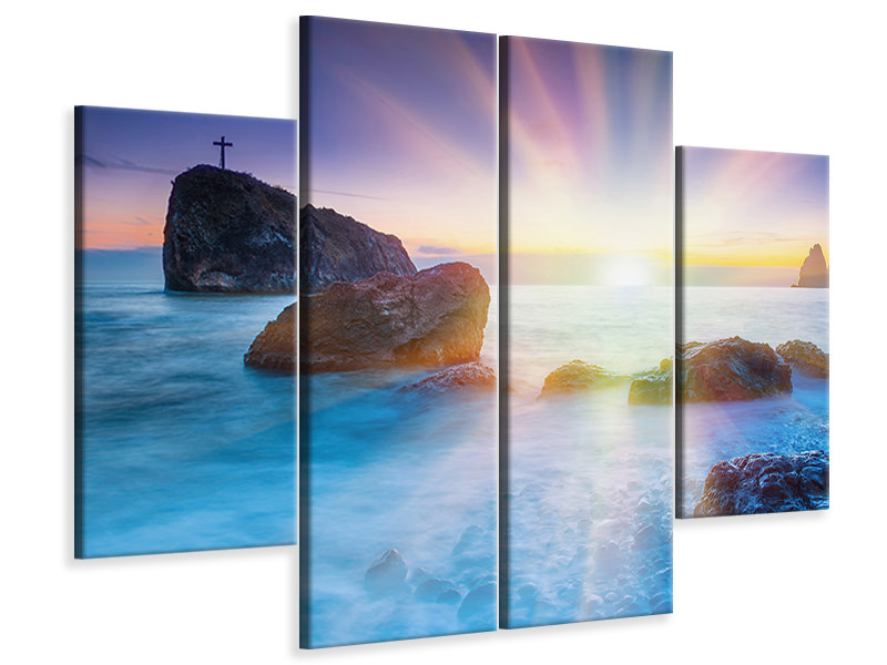 4 Piece Canvas Print Photo Wallaper Mystic Sea
