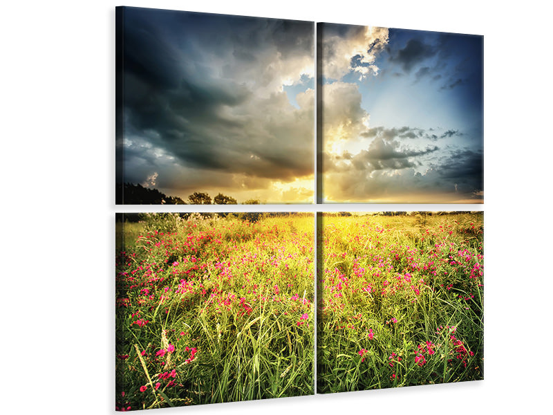 4 Piece Canvas Print Flowers Landscape