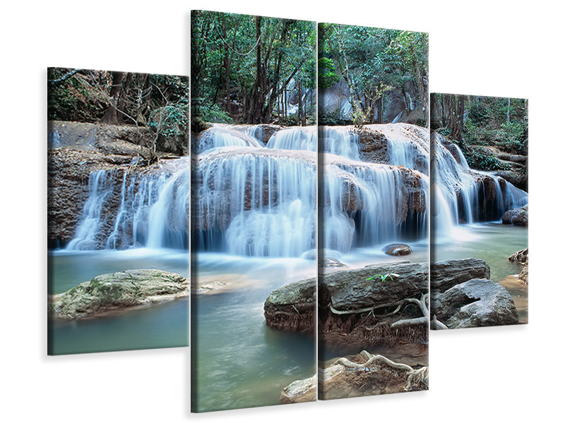 4 Piece Canvas Print A Waterfall