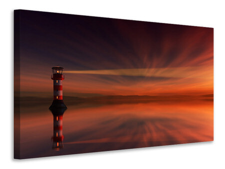 Canvas print Red sky at the lighthouse